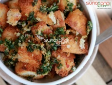 Baked Bread Croutons For Soup