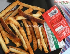 Baked Salted Bread Fries Recipe