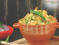 Paneer Pulao - Spicy Steamed Rice with Paneer and Matar
