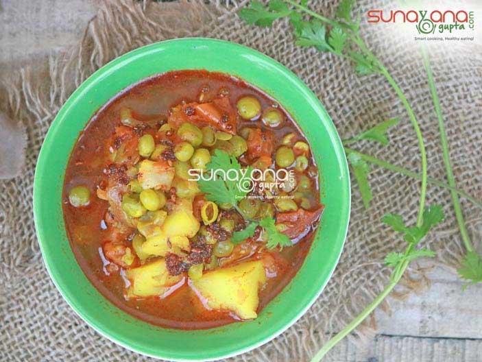 Aloo matar recipe no onion garlic perfect for vrat and fast main photo aloo matar subzi without onion forumfinder Image collections